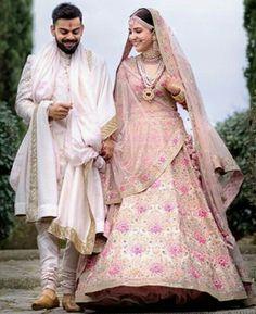 Anushka Sharma Looked Royal in Pink Floral Lehenga By Sabyasachi – Lady India Couple Wedding Dress, Wedding Dresses Men Indian, Wedding Lehnga, Wedding Sherwani, Indian Bridal Lehenga, Bollywood Wedding, Indian Bridal Outfits, Indian Bridal Wear, Sherwani Groom
