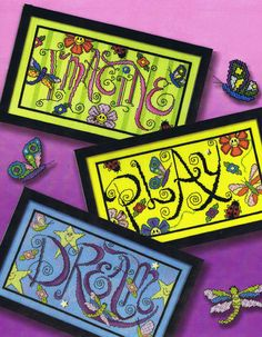Brightly coloured samplers - Imagine, Play, Dream.