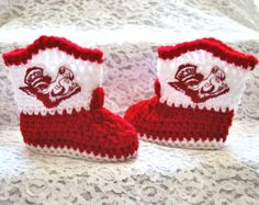 Crochet North Carolina State Wolfpack Inspired Baby Boy or Girl Cowboy Boots, NC State, University college team baby boots photo prop