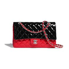 Discover the CHANEL Patent Calfskin & Silver-Tone Metal Red & Black Cruise and explore the artistry and craftsmanship of the House of CHANEL. Classic Handbags, Best Handbags, Chanel Handbags, Chanel Bags, Chanel Store, Chanel Classic Flap, Branded Bags, Beautiful Shoes, My Bags