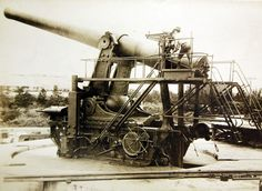 """14"""" Gun, Sandy Hook, New Jersey, November 27, 1912. The first coast defense gun of 14"""" bore has just been tested at Sandy Hook. 14"""" were also on U.S. Navy ships and the Army has been working for a long time to adapt that size of weapon to the coast defense in Manila Harbor. In the first test of the gun, six shots were fired in three minutes and forty-five seconds. The projectile fired weights 1660 pound and is 65 inches long. The only point at which the new gun has not the advantage is in…"""