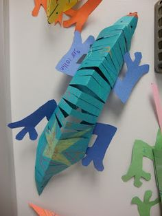 Materials: - Construction Paper - Markers/ Crayons - Scissors - Gluestick - Premade Feet and Head Tracers Click picture for directions. Reptile Crafts, Lizard Craft, Construction Paper Art, 2nd Grade Art, Up Book, Classroom Crafts, Art Lessons Elementary, Camping Crafts, Art Activities