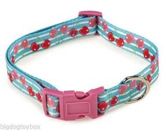 "Fruit Frenzy Cherry Adjustable Polyester Dog Collar Fits Neck size 14""-26"" FUN"