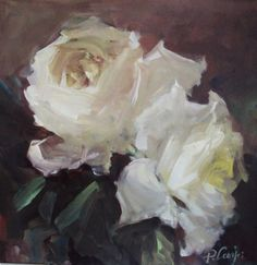 White delight, rose painting, impressionist, floral, painting by artist Parastoo Ganjei