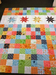 Missouri Star Wonky Star Charm Quilt using Lori Holt Vintage Happy fabrics.  Hillary loves vintage things and I love her!