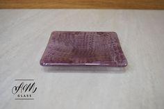Handmade square slumped glass dish Bullseye clear by AMGlassStudio