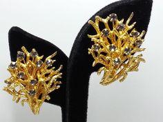 Vintage Castlecliff Trembler Earrings Coral Branch Goldtone Rhinestone Clip On #Castlecliff #Clipon $34.99