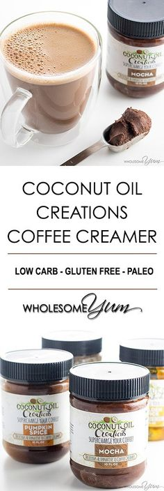 Coconut Oil Creations Paleo Coffee Creamer Review - Coconut Oil Creations are organic flavored coconut oil blended with spices. You'll love this paleo coffee creamer for creamy, frothy coffee drinks at home. (sponsored)