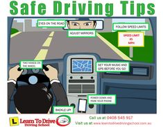Tips For Safe Driving Infographic Driving Tips For Beginners, Driving Basics, Driving Test Tips, Driving Teen, Driving School, Driving Safety, Drivers Permit, Drivers Ed, Learning To Drive Tips