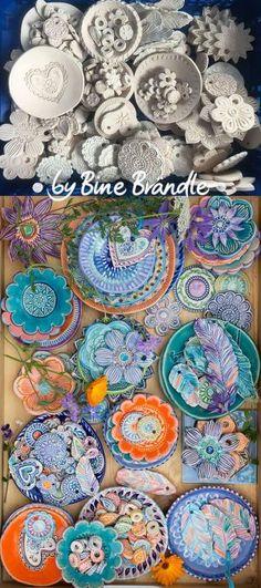 Töpfern - Keramikschalen und getöpferte Anhänger, in Lila, Blau, Orange-Tönen glasiert. von Bine Brändle