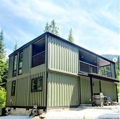 Today we are featuring another stunning container residence that is making its rounds on social media. Thankfully Brandon from One Way Construction gave. Cargo Container Homes, Shipping Container Home Designs, Building A Container Home, Container Buildings, Container Architecture, Container House Design, Container Pool, Architecture Design, Shipping Containers