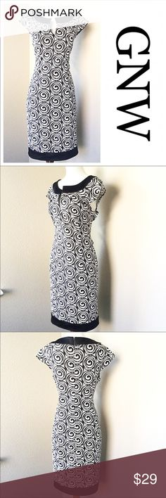 "GNW BLACK AND WHITE ABSTRACT PATTERN DRESS NWOT GNW BLACK AND WHITE ABSTRACT PATTERN DRESS NWOT -  Bust 36"" Waist 32"" Length 36.5"".97% Polyester 3% Spandex Dry Clean Only.  Beautiful Dress with short cap sleeves and scoop collar.  Stored in smoke free home. All offers will be considered.  Bundle for additional 10% Off. GNW Dresses Midi"