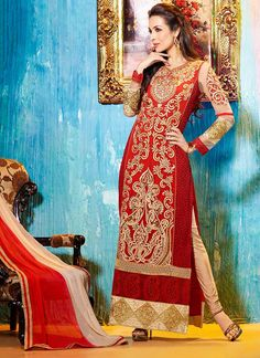 Red Malaika Arora Khan Churidar Suit