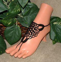 Crochet Black Flower Triangle Barefoot Sandals, Hippie, Dance, Bottomless Sandals, Footless Sandals, Sandles, Jewelry, Shoes, Accessories