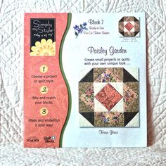 PAISLEY Garden QUILT BLOCK53 7 Simply My Style Hour Glass 4-oz