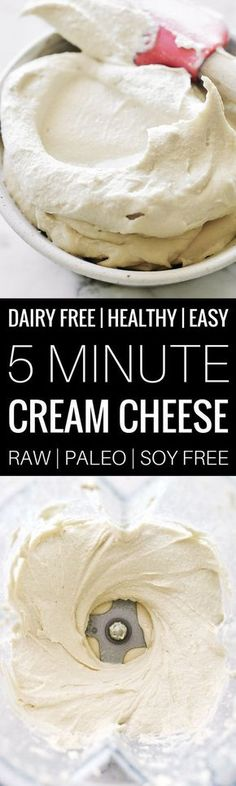 Easy Paleo Cream Cheese - made in 5 minutes, store in the fridge for 1 week. Addictively creamy and a perfect addition to any recipe, savory or sweet! {Paleo, Vegan, Soy-free, Gluten-free}