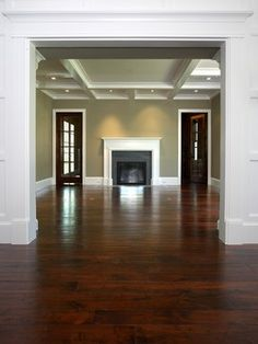 Living Room Colors With Wood Floors dark wood floors, white trim and doors, wall color its all