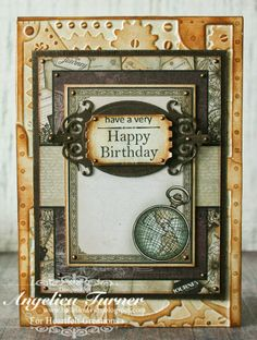 Masculine birthday card made with Heartfelt Creations paper, stamps, and dies.