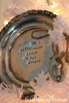Vintage Silver Platter Christmas Ornament