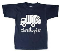 Personalized Trash Truck t-shirt for kids!  WANT IT FASTER? CLICK HERE TO ADD RUSH FEE TO YOUR ORDER https://www.etsy.com/listing/276499336/rush-my-order-plus-upgrade-my-order-to?ref=shop_home_listings   So many colors to choose from!!  I know my little men just LOVE anything to do with transportation and they arent the only ones. This is great for a birthday theme or for all year!   100% Cotton, Short Sleeved.  Please contact me with any questions.  Thank you. Sizes available are: 2T 3T 4T…