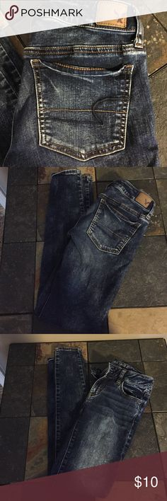 American Eagle Super Stretch Jegging Great dark denim Jegging inseam 29 American Eagle Outfitters Jeans Skinny