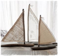 Set of Three Driftwood Art Beach Decor Sailboats  ~ made with Vintage Lace Burlap Canvas for Coastal Beachside Lakeside Themed Wedding on Etsy, $38.00