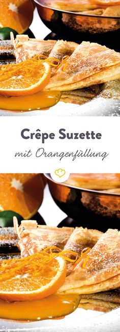 Crêpe Suzette- Crêpe Suzette With this flambéed dessert you heat up your guests properly. The French dessert from the is now celebrating a revival. Healthy Desserts, Healthy Cooking, Paleo Food, Paleo Diet, Fudge Caramel, Crepe Suzette, Paleo Meal Plan, Crepe Recipes, French Desserts