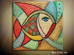Peinture originale de poisson Modern Art texturé peinture