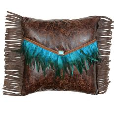 Western Bedding: Turquoise Feather Envelope Pillow|Lone Star Western Decor Western Bedroom Decor, Western Bedding, Rustic Bedding, Black Forest Decor, Southwestern Decorating, Decor Crafts, Craft Decorations, Turquoise Stone, Westerns
