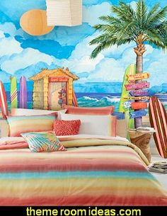 a teen girls beach inspired bedding collection in colors of yellow tangerine orange pink