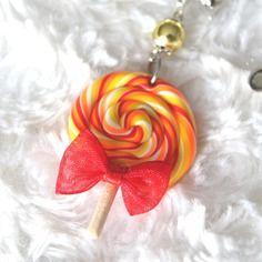 Collier gourmandise lollipop orange en pâte polymère fimo