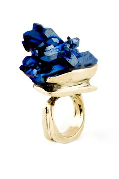 Cobalt Blue Quartz  100% Reclaimed Yellow Bronze ring by Andy Lifschutz