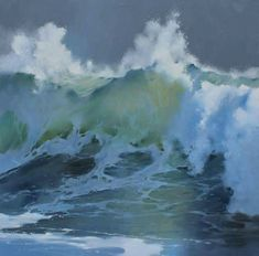 Richard Johnson Rising oil on canvas. No Wave, Seascape Paintings, Landscape Paintings, Ocean Scenes, Wave Art, Sea Art, Sea Waves, Abstract Landscape, Abstract Oil