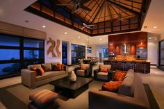 Tropical Living Room Styles Pictures Design, Pictures, Remodel, Decor and Ideas Living Room Styles, Living Room Designs, Living Rooms, Living Area, Beautiful Home Designs, Beautiful Interiors, Beautiful Homes, Houzz, Living Room Orange