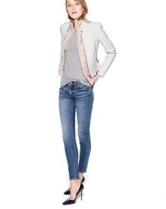 Need to buy this jacket!!J.Crew Collection standing-collar leather jacket, women's layering vest with Primaloft, painter boatneck tee, Japanese selvedge toothpick jeans in hulton wash, and Roxie pumps.