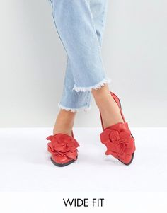 Lost Ink Wide Fit | Lost Ink Wide Fit Red Flower Trim Flat Shoes