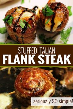 Italian Stuffed Flank Steak - The Chunky Chef Impress anyone with this easy flank steak that's rolled with garlic, herbs, prosciutto ham and provolone cheese. Perfect on the stove/oven, or on the grill, these are the ultimate Italian steak pinwheels! Flank Steak Rolls, Steak Roll Ups, Skirt Steak Recipes, Flank Steak Recipes, Grilling Recipes, Beef Recipes, Cooking Recipes, Water Recipes, Recipies