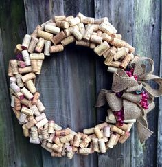 Made to order wine cork wreath with grapes and ribbon color of your choice. (burlap ribbon shown) Great for all seasons! Cute Crafts, Crafts To Make, Arts And Crafts, Diy Crafts, Wine Cork Wreath, Wine Cork Crafts, Wine Corks, Wine Bottles, Burlap Ribbon