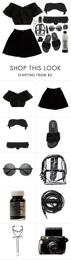"""""""scandalous."""" by clueless-designer ❤ liked on Polyvore featuring Carven, Opening Ceremony, Norma Kamali, Puma, MLC Eyewear, Urbanears, Miss Selfridge, Fujifilm and Lipstick Queen"""