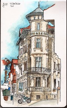 https://flic.kr/p/6TWk6G | Waterfront house | Beautiful waterfront building in Saint-Jean-de-Luz situated in the corner of Promenade Jacques Thibaud and Rue Coutarde. Pencil and ink sketch done on site and later finished with watercolors.