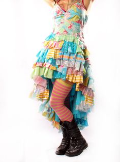 Carnival Princess Sundress in vintage fabrics Upcycle Retro dress Ruffles Hippie Flower Child Costume Gothic Lolita Showgirl. $210.00, via Etsy.
