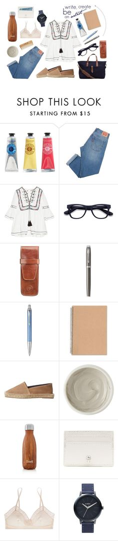 """""""Writing in the park"""" by f-t-laura ❤ liked on Polyvore featuring L'Occitane, Levi's, Talitha, Maxwell Scott Bags, Parker, MANGO, Kiehl's, S'well, Alexander McQueen and Eres"""