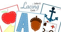 Lacing Cards are so fun for the little kids! The letter A lacing cards set is the first one I have made and used with my kids and they took to it right away! 3 Year Old Preschool, Lacing Cards, 2 Year Olds, Good Thoughts, Kids Cards, Fine Motor, Free Printables, Fun Stuff, Christmas Decorations
