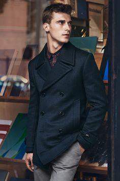 Dark blue seaman's jacket in herringbone wool blend. | H&M Men's Classics