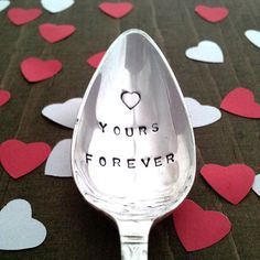 Hand stamped Vintage Spoon YOURS FOREVER  with a by Goozeberryhill, £8.50