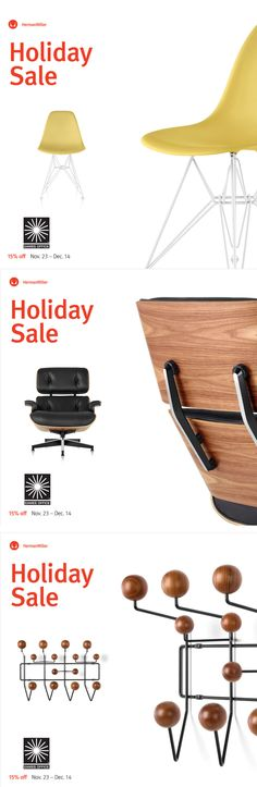 Herman Miller Holiday sale, November 23 to December 14 only!  Buy now and save!  @hermanmiller   Herman Miller Sale 15% off + free standard shipping on everything storewide through Dec 14  Iconic design rarely comes this easy. Shop for award winning office chairs and timeless designs from Eames, Nelson, and Girard. Select products are in stock with expedited shipping available.