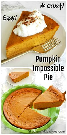 Pumpkin Impossible Pie has you whirl pumpkin custard ingredients in a blender with baking mix, for a flavor-packed crustless pie. This pie is all about the creamy pumpkin filling! #shockinglydelicious #pumpkinpie #impossiblepie #crustlesspie Easy Desserts, Delicious Desserts, Dessert Recipes, Dessert Ideas, Bisquick Recipes, Baking Recipes, Food Cakes, Tart Recipes, Sweet Recipes