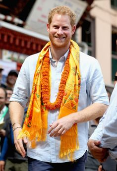 Prince Harry smiles in a community courtyard outside the Golden Temple on day two of his visit to Nepal on March 20, 2016 in Kathmandu, Nepal. Prince Harry is on a five day visit to Nepal, his first official tour of the country. (March 19, 2016 - Source: Chris Jackson/Getty Images Europe)