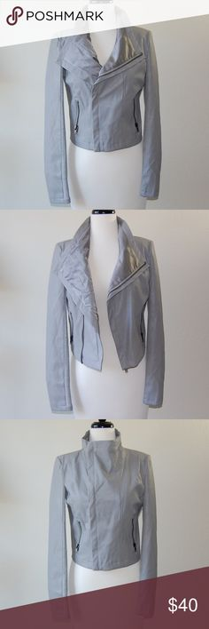 OLIVACEOUS Faux Leather Moto Jacket Light gray gay leather and knit moto jacket. Zippered pockets. Outer shell is polyurethane/viscose blend. Sleeve shell is viscose/spandex blend. Lining is 100% polyester.    Instagram: @bringingupsuns Olivaceous Jackets & Coats