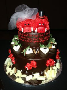 Arkansas Razorback Wedding Cake!  If and when - I EVER get married again - THIS WILL BE MY CAKE!!!!!!!!!!!!!!